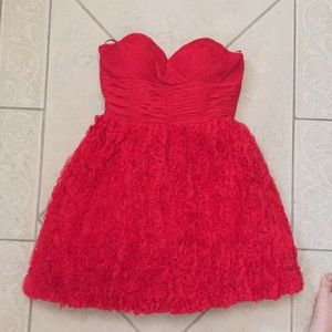 Red jovani ruched sweetheart neck/ruffled skirt
